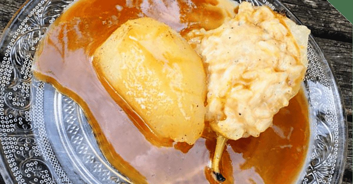 riz au lait poire pochée caramel au beurre salé