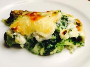 """Lasagnes """"Verde"""" : épinards, chèvre, blettes, broccio et parmesan"""
